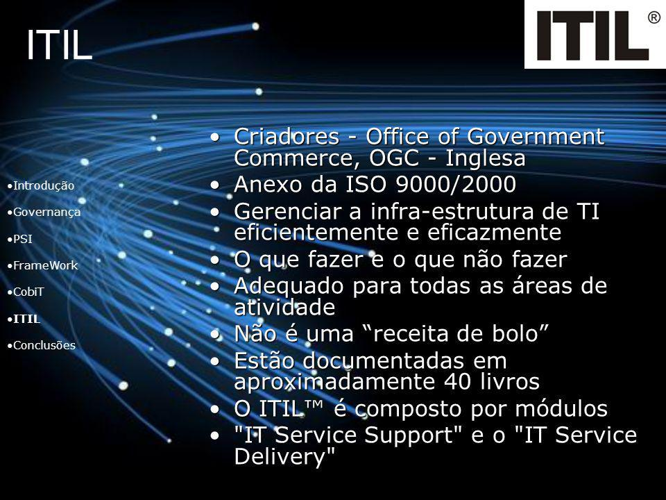 ITIL Criadores - Office of Government Commerce, OGC - Inglesa