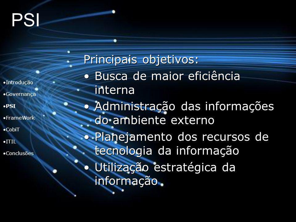 PSI Principais objetivos: Busca de maior eficiência interna