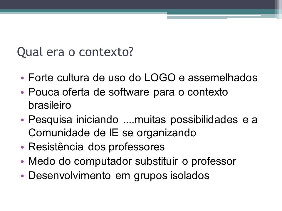 Qual era o contexto Forte cultura de uso do LOGO e assemelhados