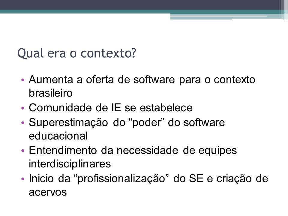 Qual era o contexto Aumenta a oferta de software para o contexto brasileiro. Comunidade de IE se estabelece.