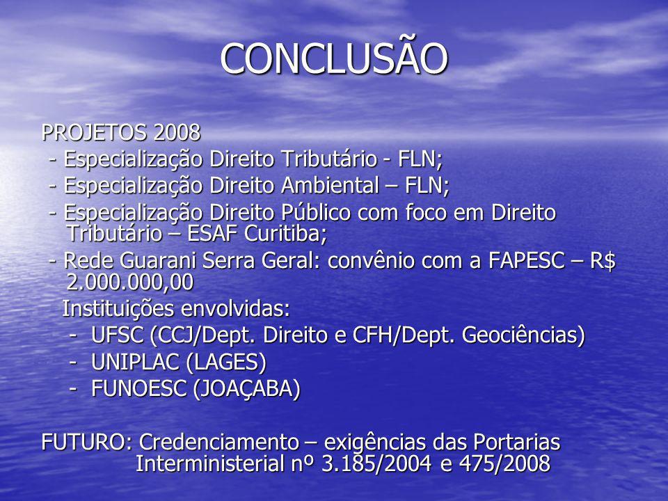 CONCLUSÃO PROJETOS 2008 - Especialização Direito Tributário - FLN;