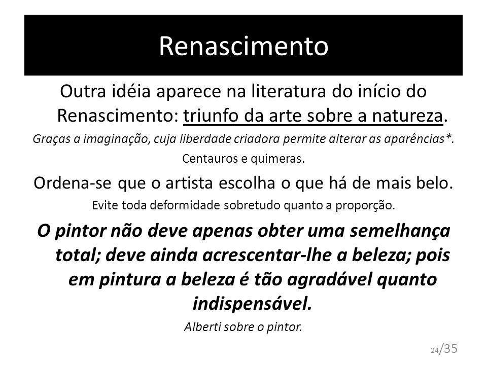 Renascimento Outra idéia aparece na literatura do início do Renascimento: triunfo da arte sobre a natureza.