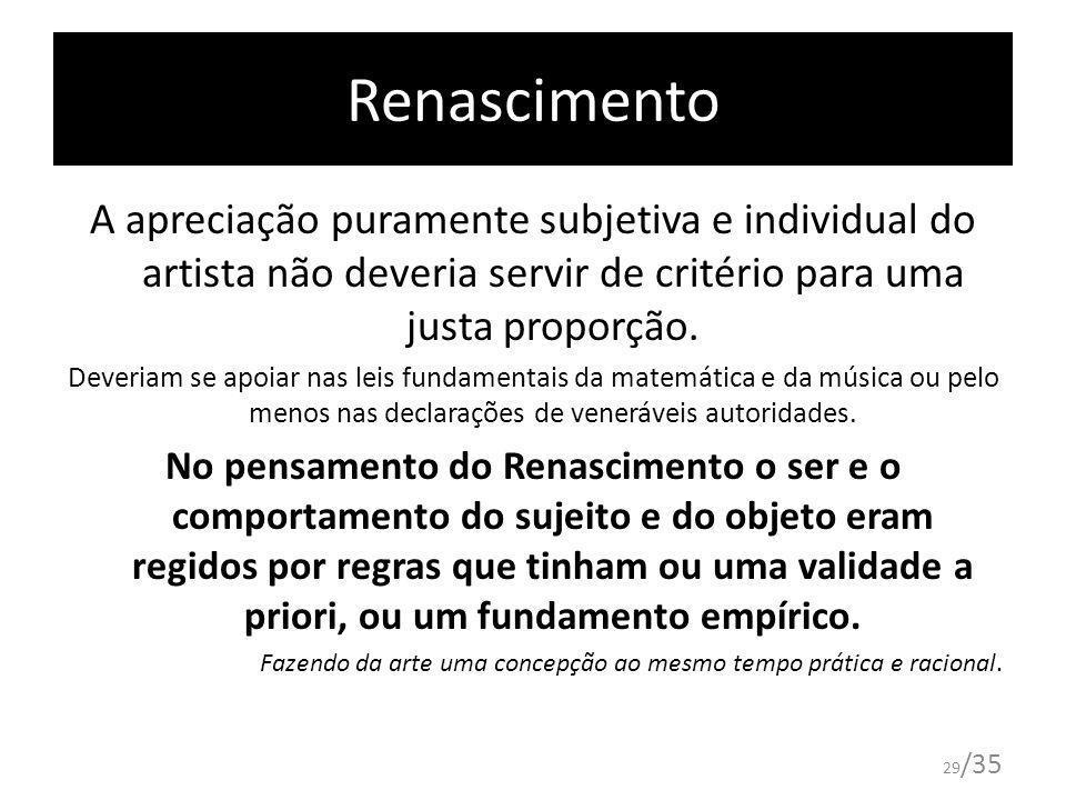 Renascimento A apreciação puramente subjetiva e individual do artista não deveria servir de critério para uma justa proporção.
