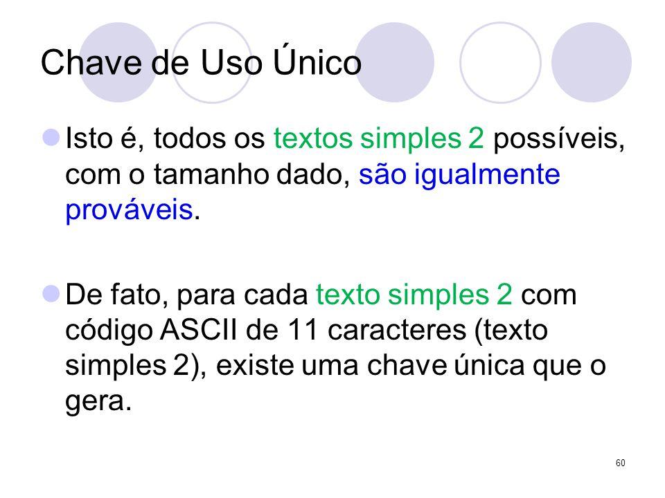 Chave de Uso Único Isto é, todos os textos simples 2 possíveis, com o tamanho dado, são igualmente prováveis.