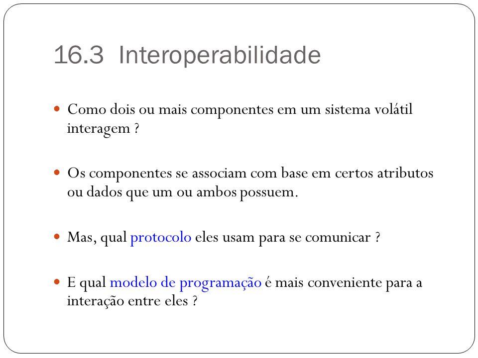 16.3 Interoperabilidade Como dois ou mais componentes em um sistema volátil interagem