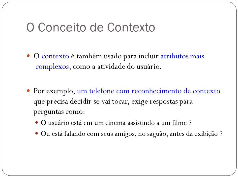 O Conceito de Contexto O contexto é também usado para incluir atributos mais complexos, como a atividade do usuário.