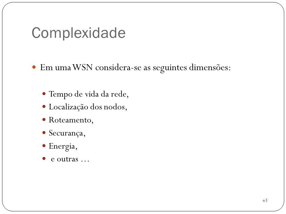Complexidade Em uma WSN considera-se as seguintes dimensões: