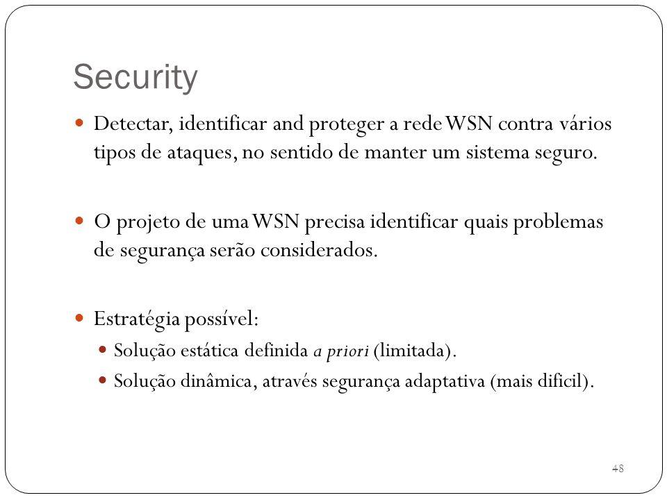Security Detectar, identificar and proteger a rede WSN contra vários tipos de ataques, no sentido de manter um sistema seguro.