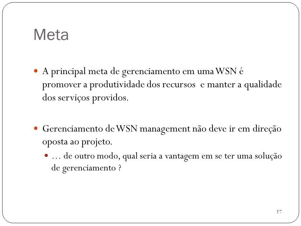 Meta A principal meta de gerenciamento em uma WSN é promover a produtividade dos recursos e manter a qualidade dos serviços providos.