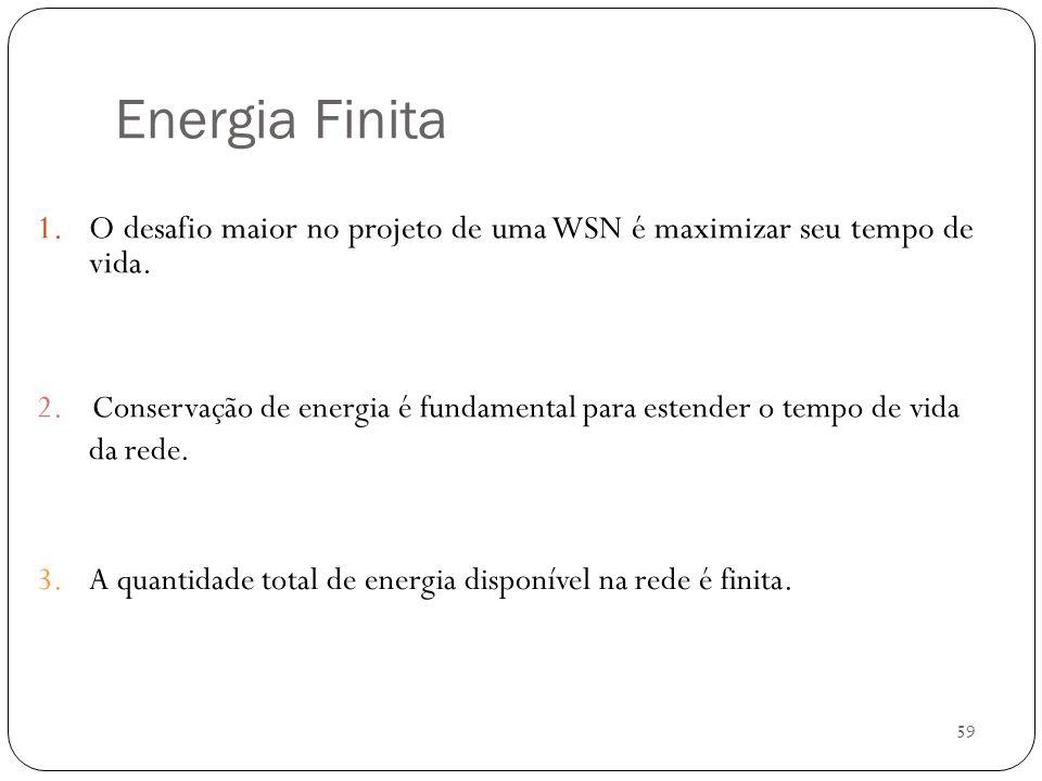 Energia Finita O desafio maior no projeto de uma WSN é maximizar seu tempo de vida.