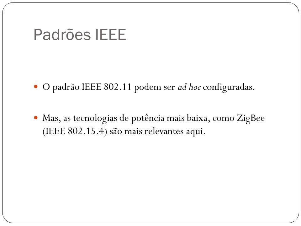 Padrões IEEE O padrão IEEE 802.11 podem ser ad hoc configuradas.