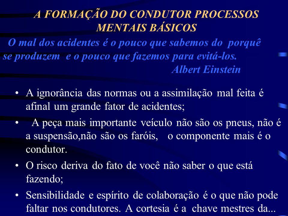 A FORMAÇÃO DO CONDUTOR PROCESSOS MENTAIS BÁSICOS