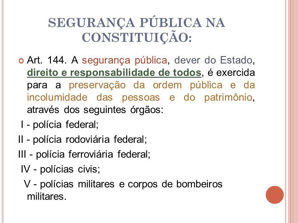 SEGURANÇA PÚBLICA NA CONSTITUIÇÃO: