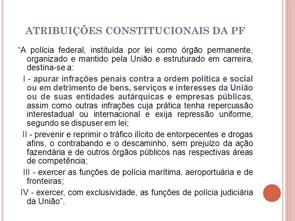 ATRIBUIÇÕES CONSTITUCIONAIS DA PF
