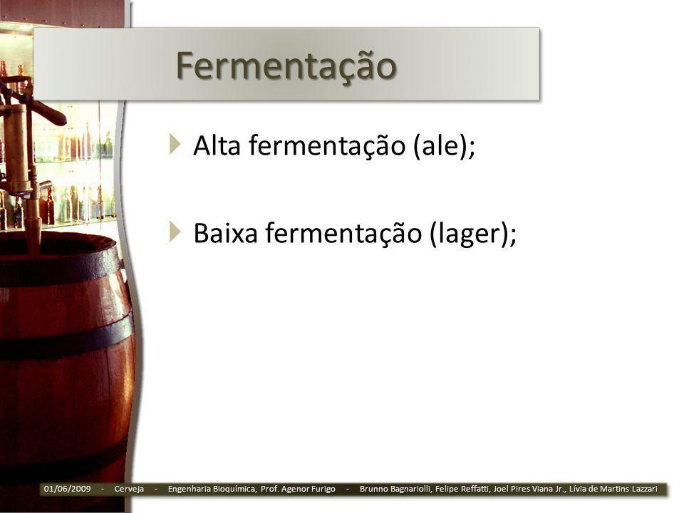 Fermentação Alta fermentação (ale); Baixa fermentação (lager);