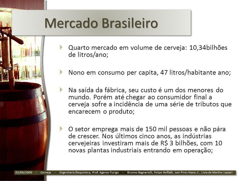 Mercado Brasileiro Quarto mercado em volume de cerveja: 10,34bilhões de litros/ano; Nono em consumo per capita, 47 litros/habitante ano;