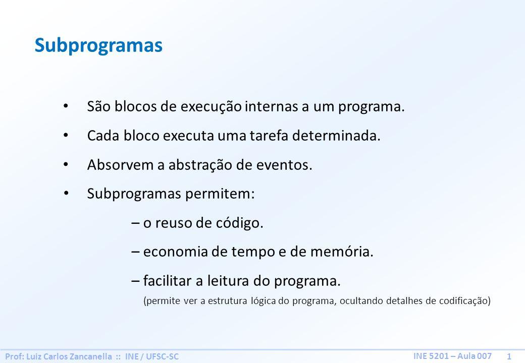 Subprogramas São blocos de execução internas a um programa.