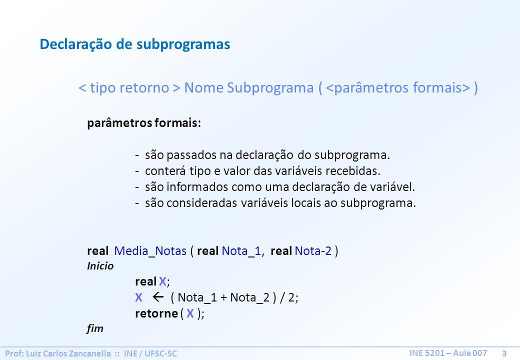 Declaração de subprogramas