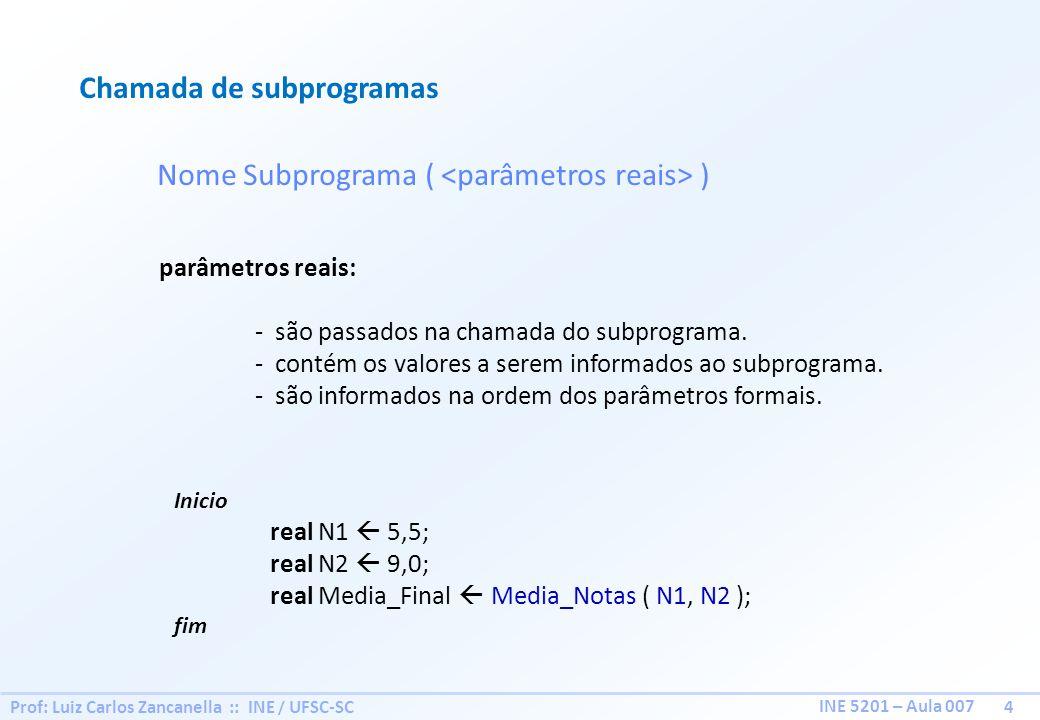 Chamada de subprogramas