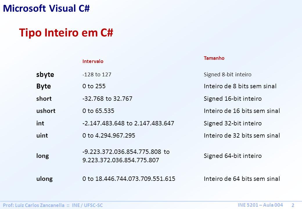 Tipo Inteiro em C# Microsoft Visual C# sbyte Byte 0 to 255