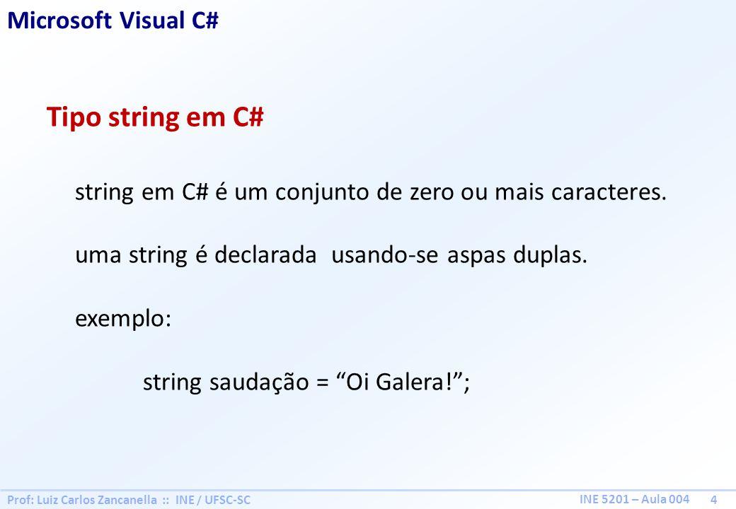 Tipo string em C# Microsoft Visual C#