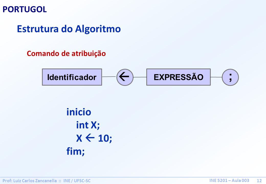 ;  Estrutura do Algoritmo inicio int X; X  10; fim; PORTUGOL