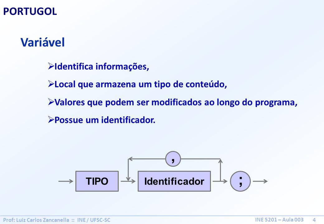 , ; Variável PORTUGOL Identifica informações,