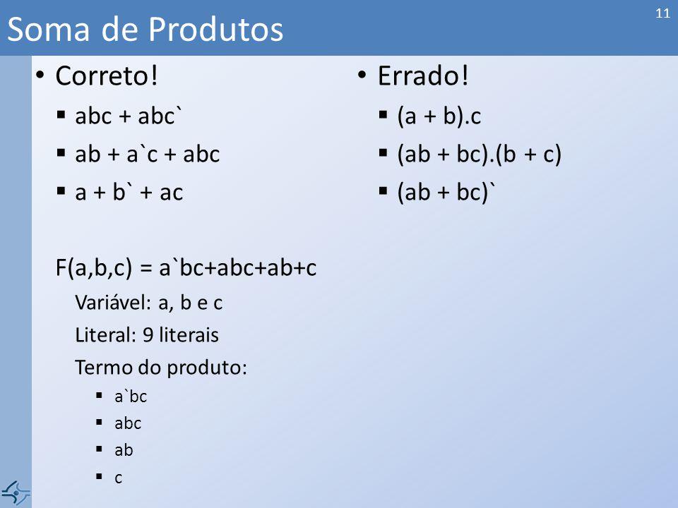Soma de Produtos Correto! Errado! abc + abc` (a + b).c ab + a`c + abc
