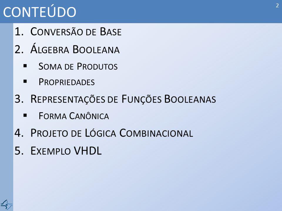 CONTEÚDO Conversão de Base Álgebra Booleana