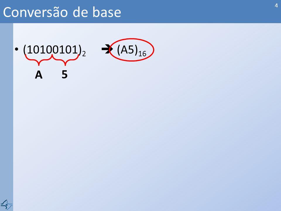 Conversão de base (10100101)2  (A5)16 A 5