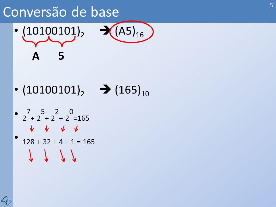 Conversão de base (10100101)2  (A5)16 A 5 (10100101)2  (165)10