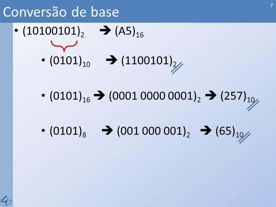 Conversão de base (10100101)2  (A5)16 (0101)10  (1100101)2