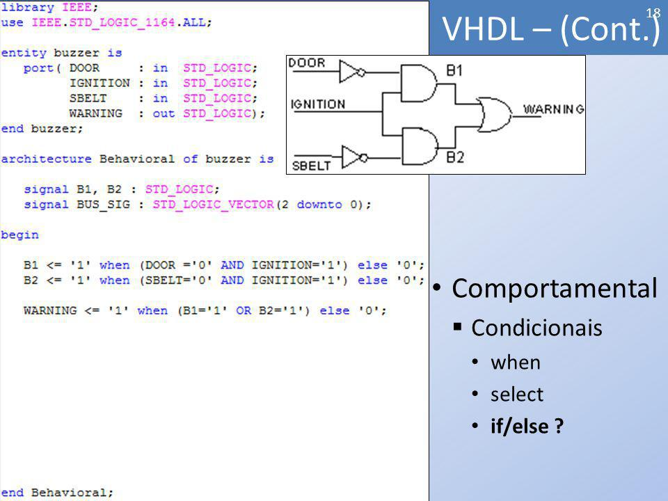 VHDL – (Cont.) Comportamental Condicionais when select if/else