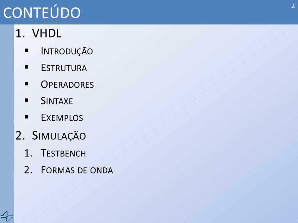 CONTEÚDO VHDL Simulação Introdução Estrutura Operadores Sintaxe