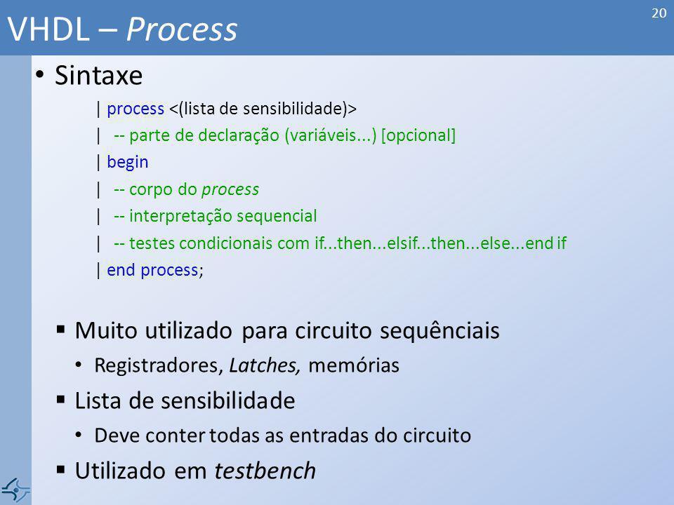 VHDL – Process Sintaxe Muito utilizado para circuito sequênciais