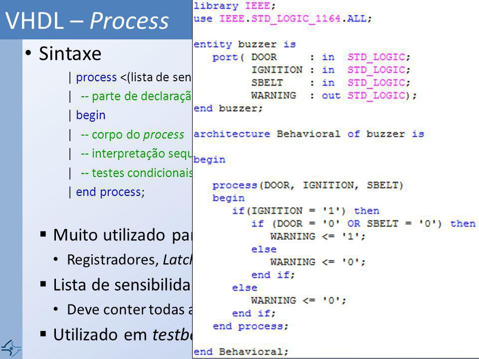 VHDL – Process Sintaxe Muito utilizado para circuito sequenciais