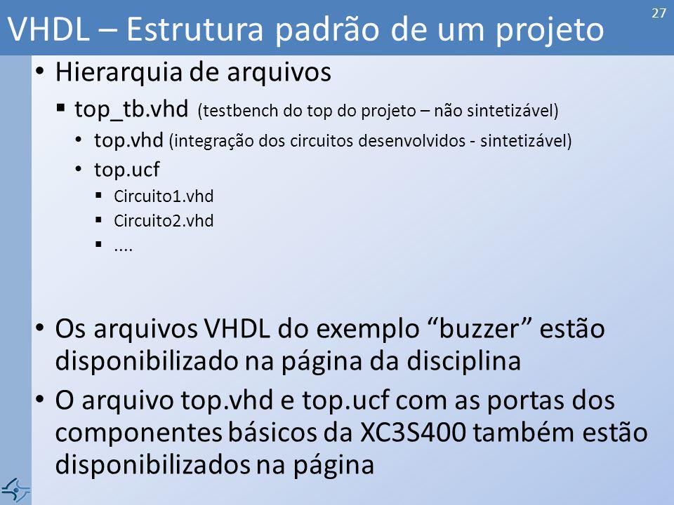 VHDL – Estrutura padrão de um projeto