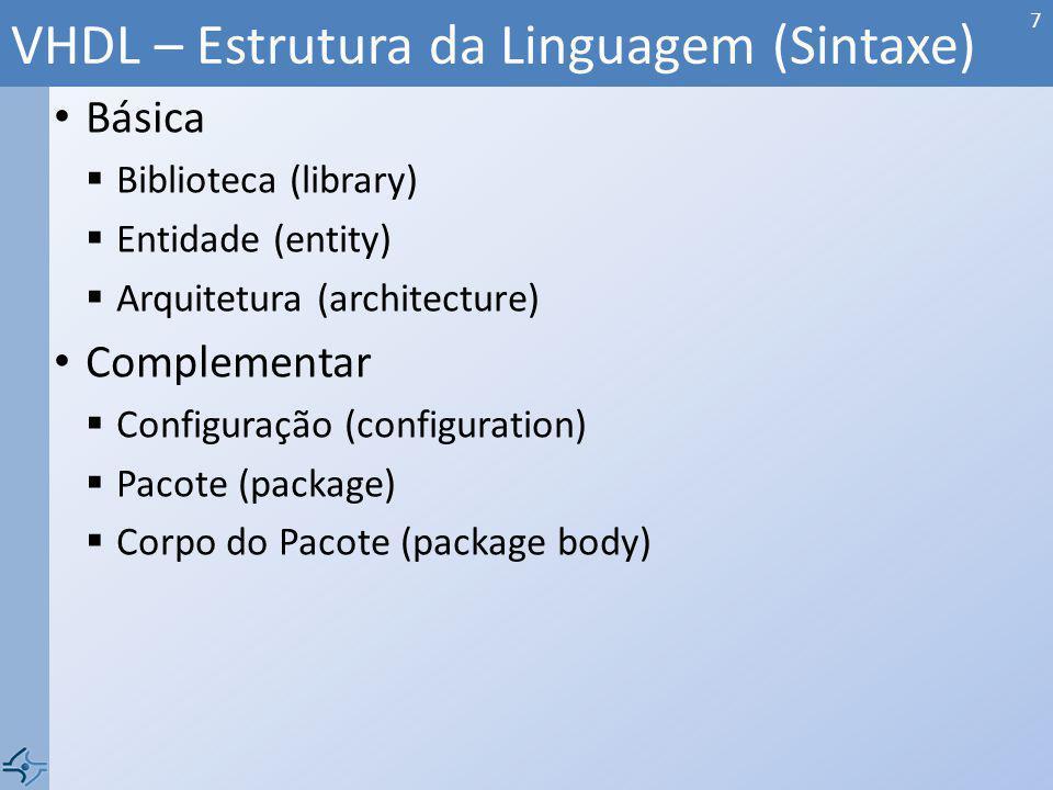VHDL – Estrutura da Linguagem (Sintaxe)