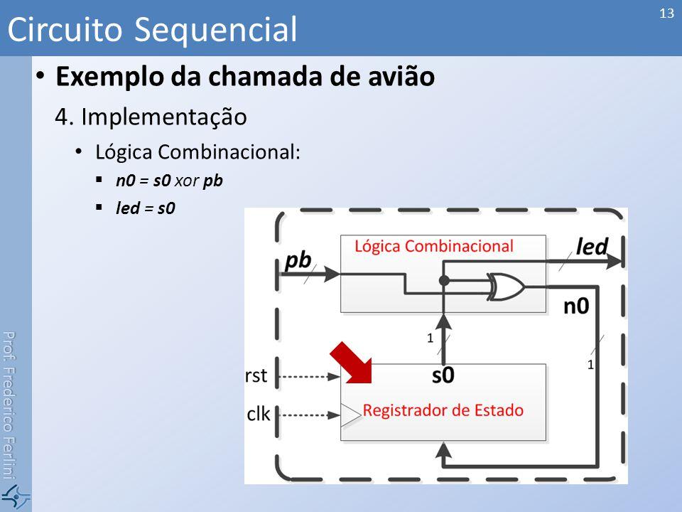 Circuito Sequencial Exemplo da chamada de avião Implementação