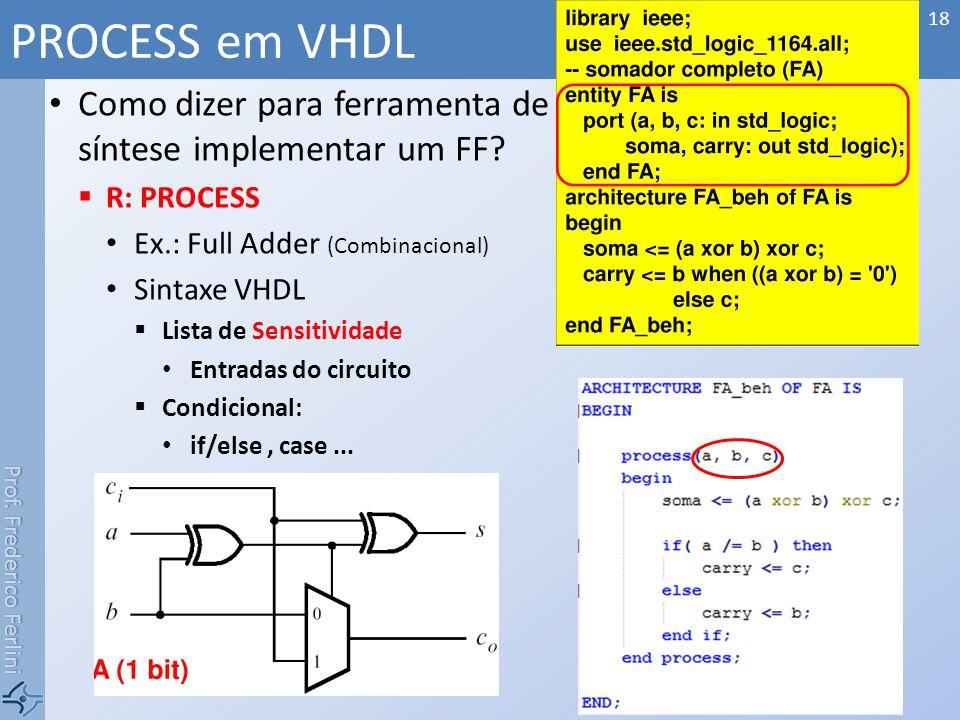 PROCESS em VHDL Como dizer para ferramenta de síntese implementar um FF R: PROCESS. Ex.: Full Adder (Combinacional)