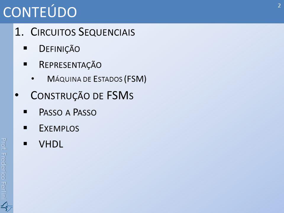 CONTEÚDO Circuitos Sequenciais Construção de FSMs Definição