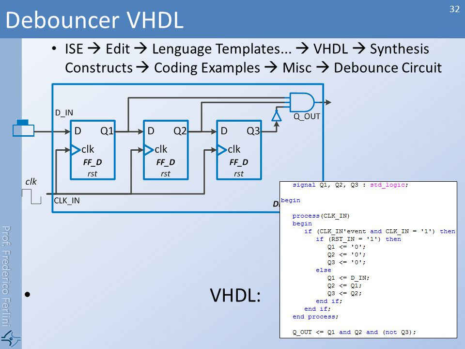 Debouncer VHDL ISE  Edit  Lenguage Templates...  VHDL  Synthesis Constructs  Coding Examples  Misc  Debounce Circuit.