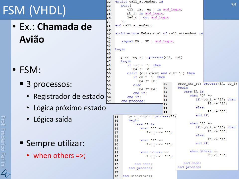 FSM (VHDL) Ex.: Chamada de Avião FSM: 3 processos: Sempre utilizar: