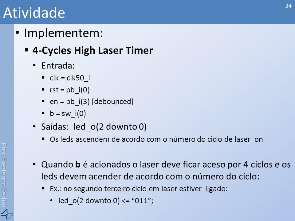 Atividade Implementem: 4-Cycles High Laser Timer Entrada: