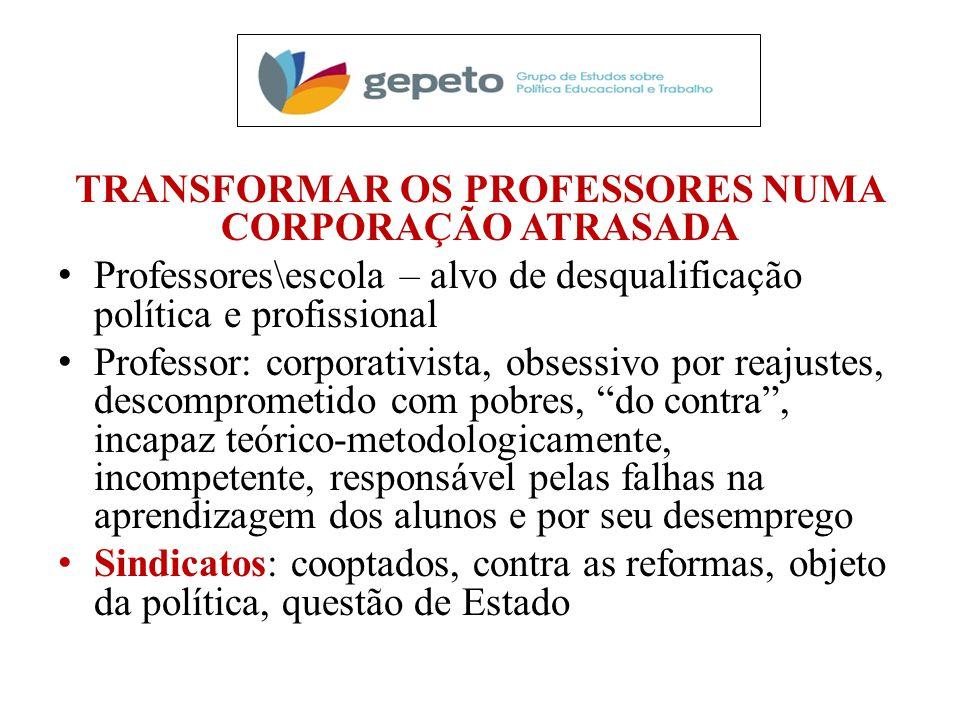 TRANSFORMAR OS PROFESSORES NUMA CORPORAÇÃO ATRASADA