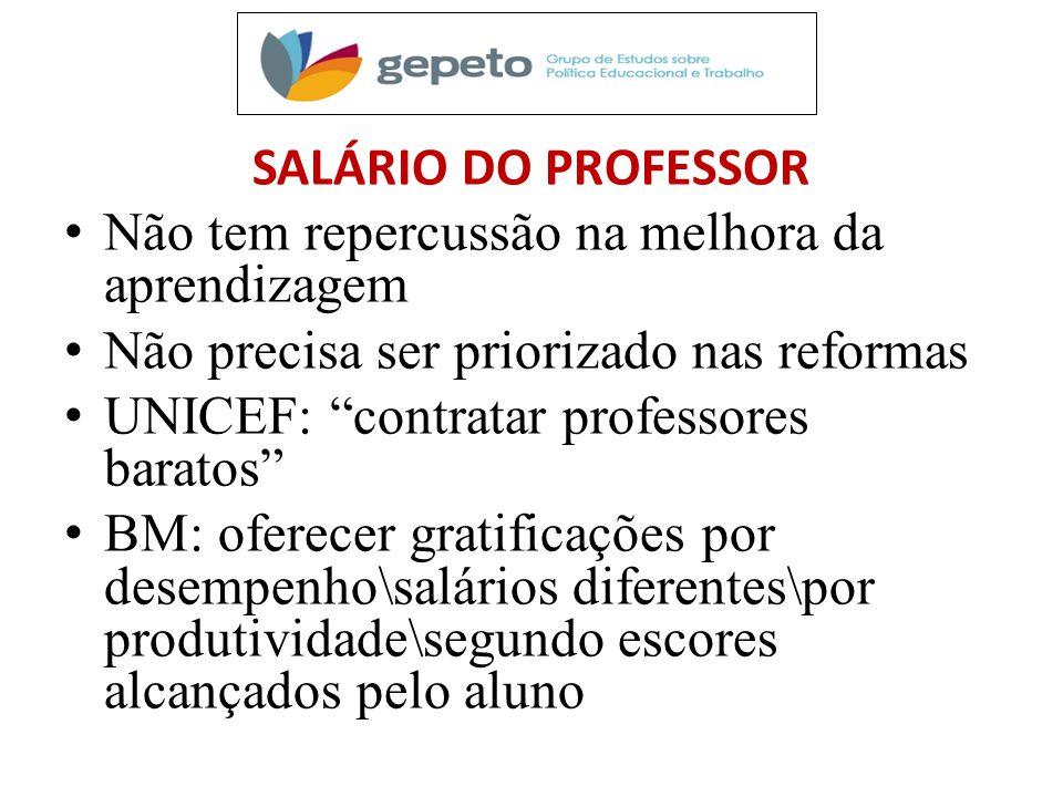 SALÁRIO DO PROFESSOR Não tem repercussão na melhora da aprendizagem. Não precisa ser priorizado nas reformas.