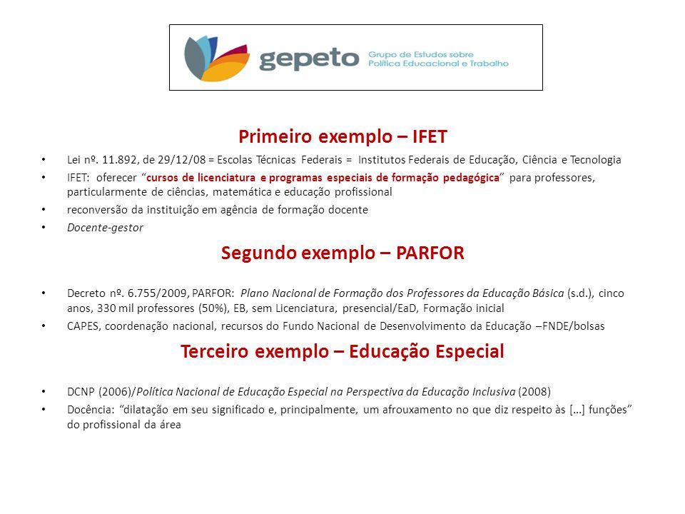 Primeiro exemplo – IFET Segundo exemplo – PARFOR
