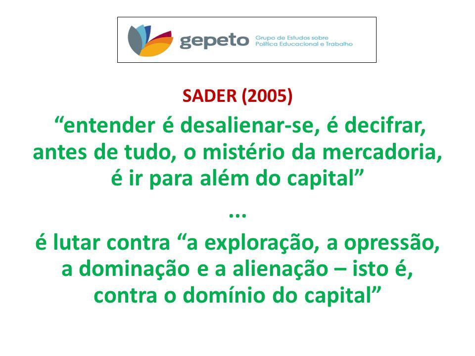 SADER (2005) entender é desalienar-se, é decifrar, antes de tudo, o mistério da mercadoria, é ir para além do capital