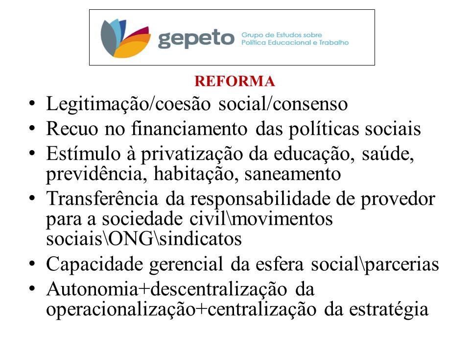Legitimação/coesão social/consenso