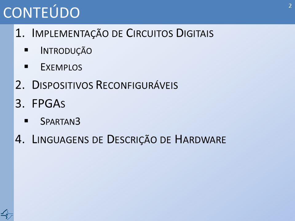 CONTEÚDO Implementação de Circuitos Digitais